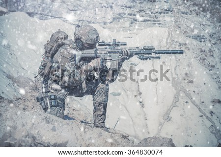 Army ranger in the mountains - stock photo