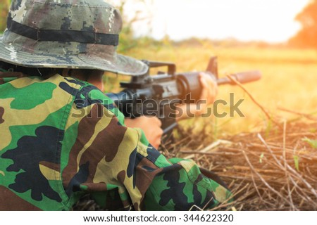 Army sniper military operation battle - stock photo