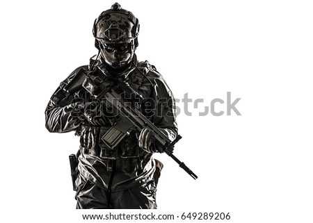 army soldier protective combat uniform holding stock photo