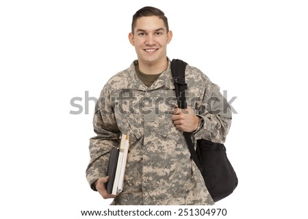 Army soldier with books and bag against white background - stock photo