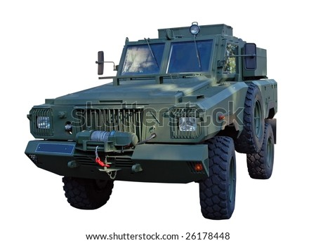 Army truck isolated on white. Clipping path included to remove or replace background