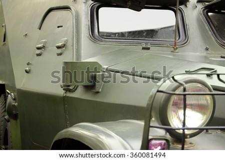 Army vehicle close up image - stock photo