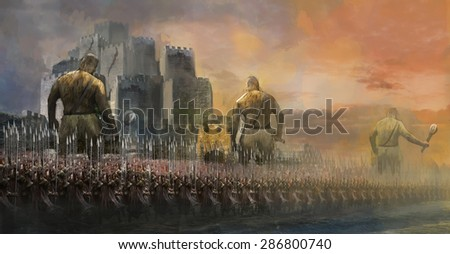 army with giant trolls attack castle  - stock photo