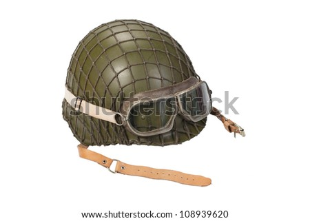 army with goggles helmet isolated on white - stock photo