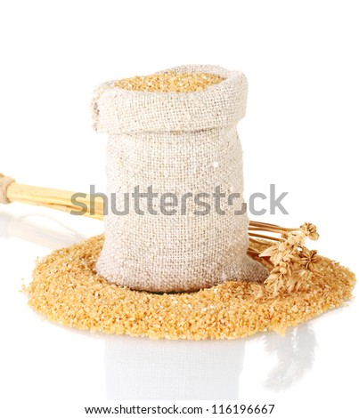 arnautka in sack with spikelets on white background close-up