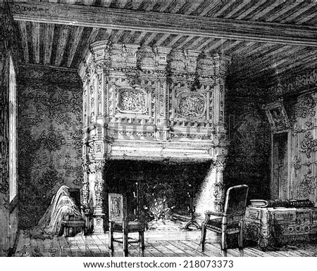 Arnay-le-Duc. Fireplace in one of the castle, vintage engraved illustration. Journal des Voyage, Travel Journal, (1880-81).