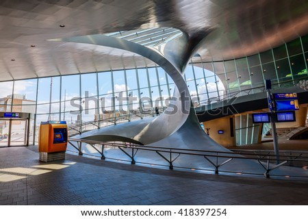 Arnhem, Netherlands - April 19, 2016: Arnhem Centraal railway station. After reconstruction it was reopened november 2015. The new design was created by UNStudio, it won the Dutch Nationale Staalprijs - stock photo