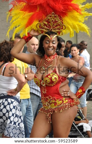 ARNHEM, THE NETHERLANDS-AUGUST 21: Performer participates at the Summer Carnival (Rio aan de Rijn) on August 21, 2010 in Arhem, The Netherlands. It attracts more than 100.000 visitors every year.