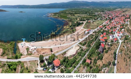 Arnissa city and Lake Vegoritida, Central Makedonia, Greece, aerial view
