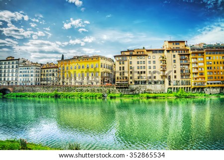 Arno bank on a cloudy day in Florence, Italy - stock photo