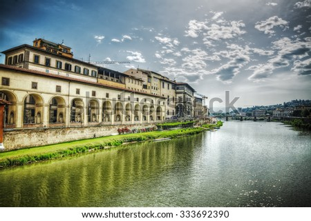 Arno bank seen from Ponte Vecchio in Florence, Italy