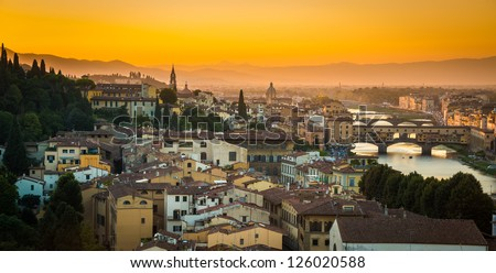 Arno River and Florence at sunset - stock photo