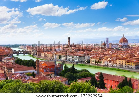 Arno river and Florence panorama with famous bridge towers and cathedral  - stock photo