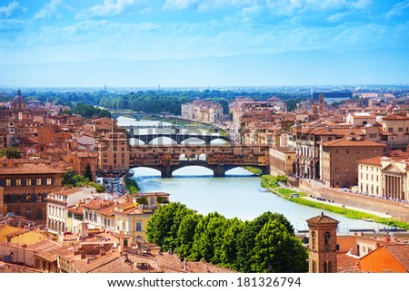 Arno river and Ponte Vecchio panorama of Florence - stock photo