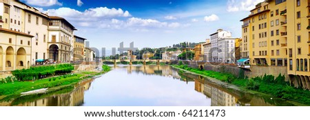 Arno river in Florence (Firenze), Panorama  Tuscany, Italy - stock photo