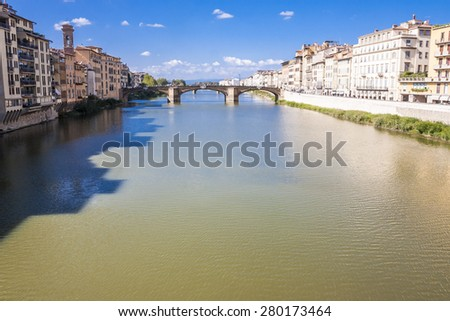 Arno river in Florence (Firenze), Tuscany, Italy - stock photo