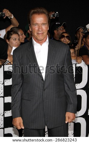 Arnold Schwarzenegger at the Los Angeles premiere of 'The Expendables 2' held at the Grauman's Chinese Theatre in Hollywood on August 15, 2012.