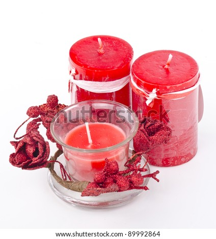 Aroma candle on white background.