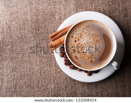 Aroma cappuccino coffee. Top view. - stock photo
