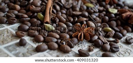 Aroma coffee. ingredients. coffee beans, anise,cardamon, cinnamon, carnation. - stock photo