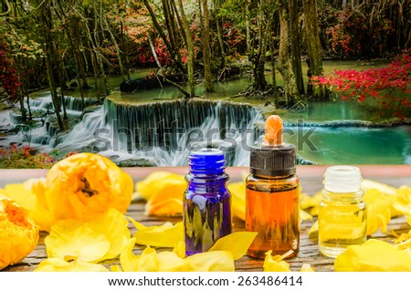 Aroma essential oil and flowers on wooden in the forest waterfall  backgrounds soft focus. - stock photo