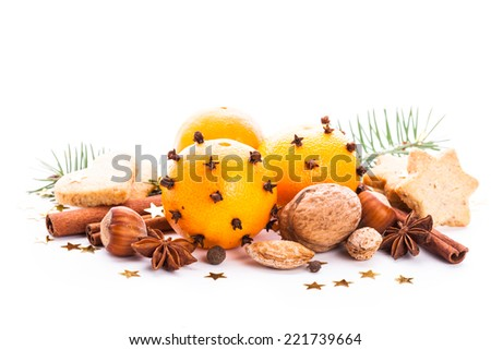 Aroma of Christmas - fir, tangerins and spices. Christmas cookies - stock photo