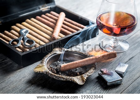 Aroma of cognac and cigar fuming - stock photo