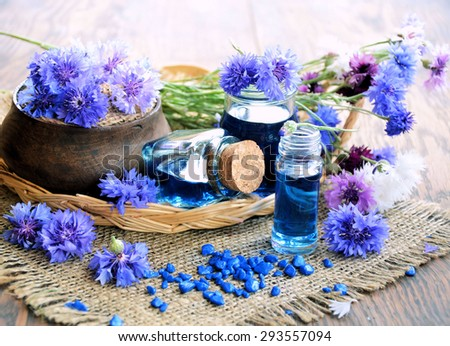Aroma  spa set over wooden background - stock photo