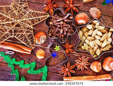 aroma spice for christmas cookies on a table - stock photo