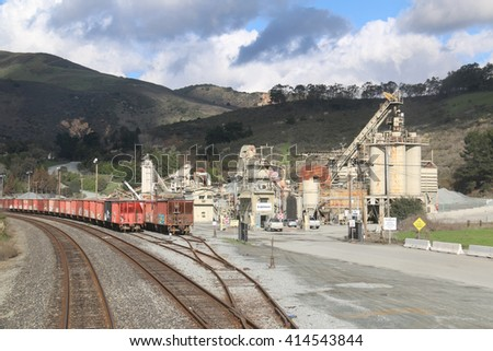Aromas, California, USA - December 25, 2015: Graniterock is an American corporation that operates in the construction industry providing crushed gravel, sand, concrete and asphalt.