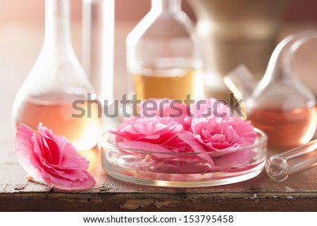 aromatherapy and alchemy with pink flowers - stock photo