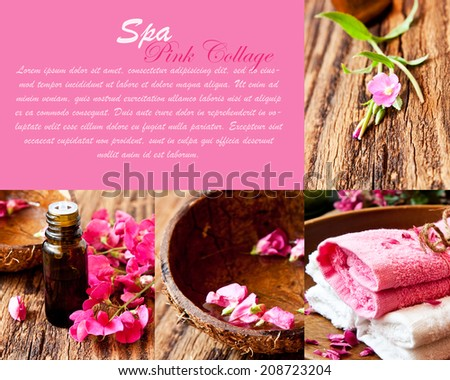 Aromatherapy and Spa Pink Collage with Essence, Flowers and Towels - stock photo