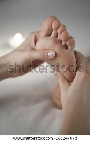 aromatherapy foot massage - stock photo