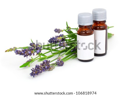 Aromatherapy Lavender oil and lavender flower, isolated on white background
