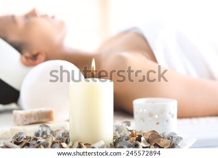 Aromatherapy, relaxation in the wellness clinic. Facials, beauty treatments, natural spa  - stock photo