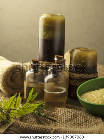 aromatherapy spa concept on gray background - stock photo