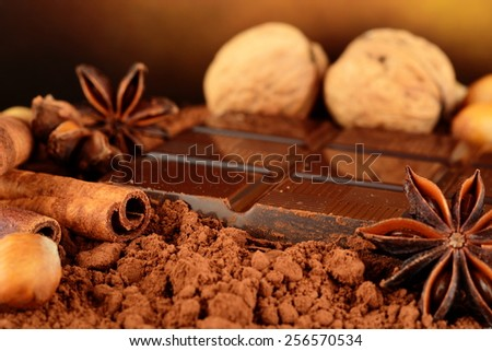 Aromatic assortment of chocolate,anise and cinnamon with walnuts and hazelnuts on cocoa powder on brown background - stock photo