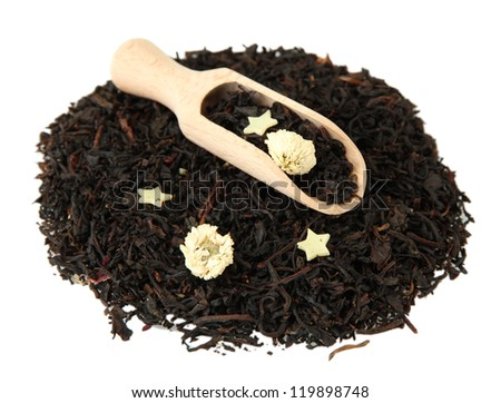 aromatic black dry tea with flowers, isolated on white