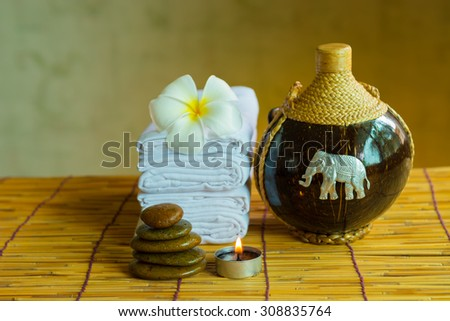 Aromatic candle and the warm light, Thai spa concept. - stock photo