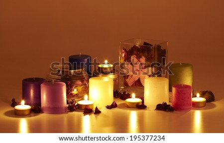 aromatic candles and dry flower spa