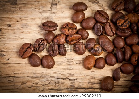 Aromatic coffee beans in a bag linen and wood