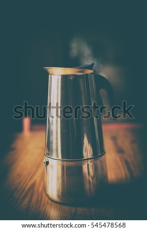 Aromatic coffee prepared in the infuser.