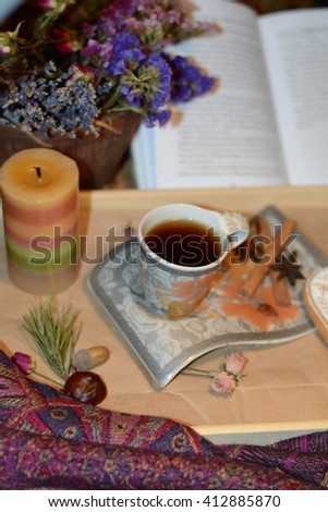 Aromatic coffee with spices - stock photo