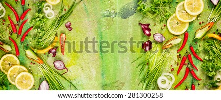 Aromatic fresh seasoning and spices for cooking , top view,banner for website - stock photo