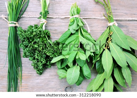 aromatic herbs for cooking ,natural product - stock photo