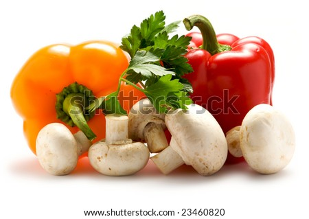 Aromatic herbs, peppers and mushrooms isolated on a white background