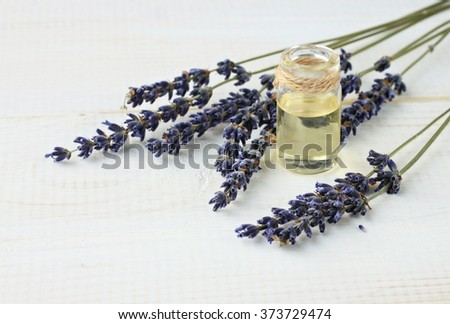 Aromatic lavender essential oil in bottle. Dried lavandula herb twigs. - stock photo