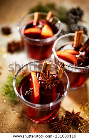 Aromatic mulled wine - stock photo