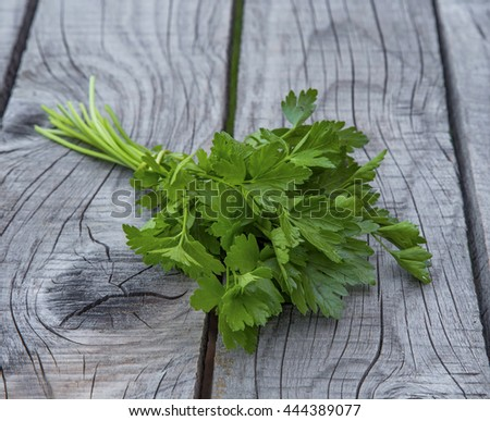 Aromatic parsley herb on wooden board