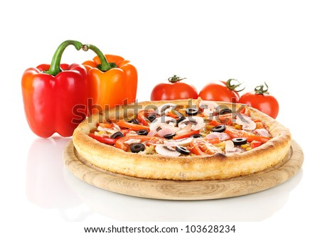 Aromatic pizza with vegetables isolated on white - stock photo